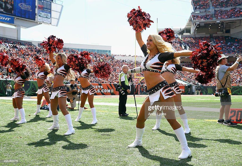Cincinnati Bengals cheerleaders perform during the game against the Atlanta Falcons at Paul Brown Stadium on September 14 2014 in Cincinnati Ohio