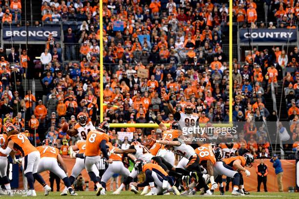 Cincinnati Bengals cornerback KeiVarae Russell blocks a field goal attempt near the end of the first half The Denver Broncos hosted the Cincinnati...