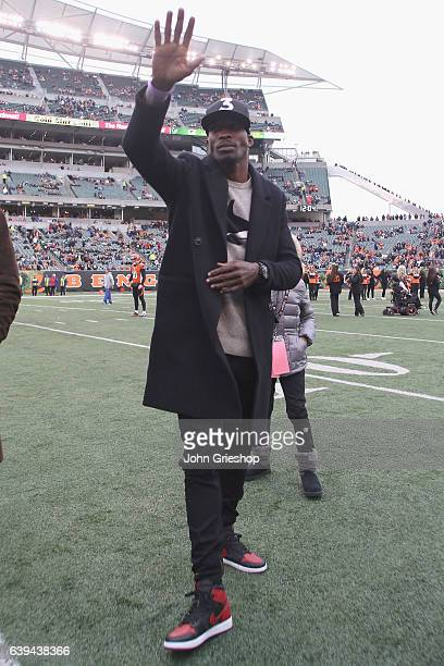 Cincinnati Bengals great Chad Johnson greets the crowd before the game against the Philadelphia Eagles at Paul Brown Stadium on December 4 2016 in...