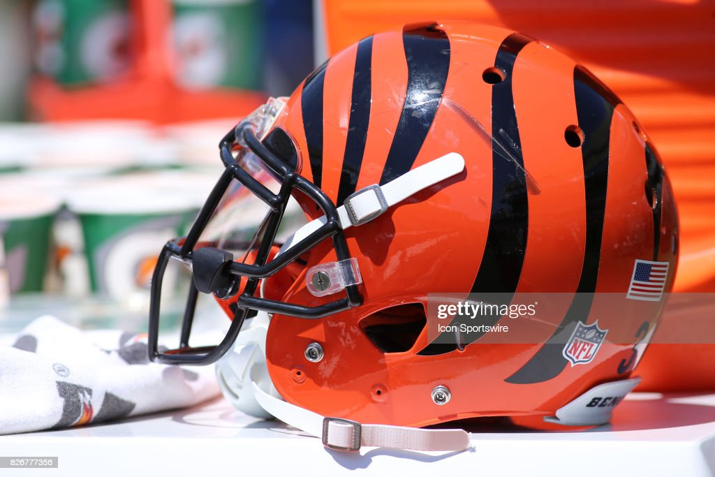 A Cincinnati Bengals helmet during Cincinnati Bengals training camp practice on August 5th, 2017 at Paul Brown Stadium in Cincinnati, OH.