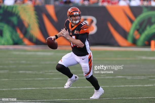 Cincinnati Bengals quarterback Andy Dalton looks to pass during the preseason game at Paul Brown Stadium on August 19th 2017 in Cincinnati Ohio