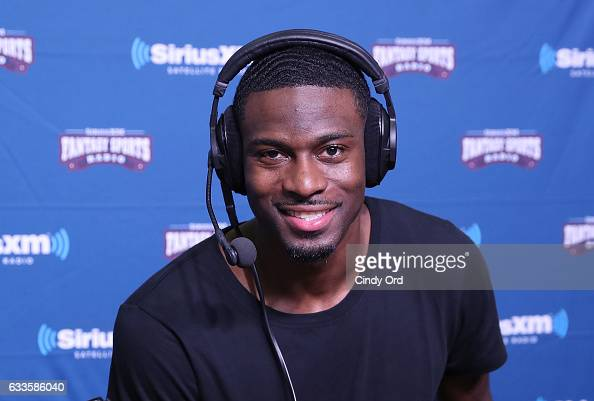 Cincinnati Bengals wide receiver AJ Green visits the SiriusXM set at Super Bowl 51 Radio Row at the George R Brown Convention Center on February 2...