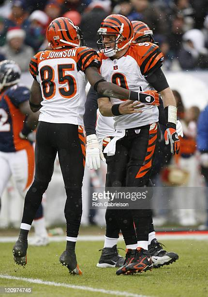 Cincinnati Bengals wide receiver Chad Johnson and quarterback Carson Palmer celebrate a Bengals touchdown during the game between the Bengals and the...