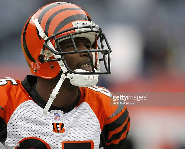 Cincinnati Bengals wide receiver Chad Johnson during pregame warmups at Invesco Field at Mile High in Denver Colorado on December 24 2006