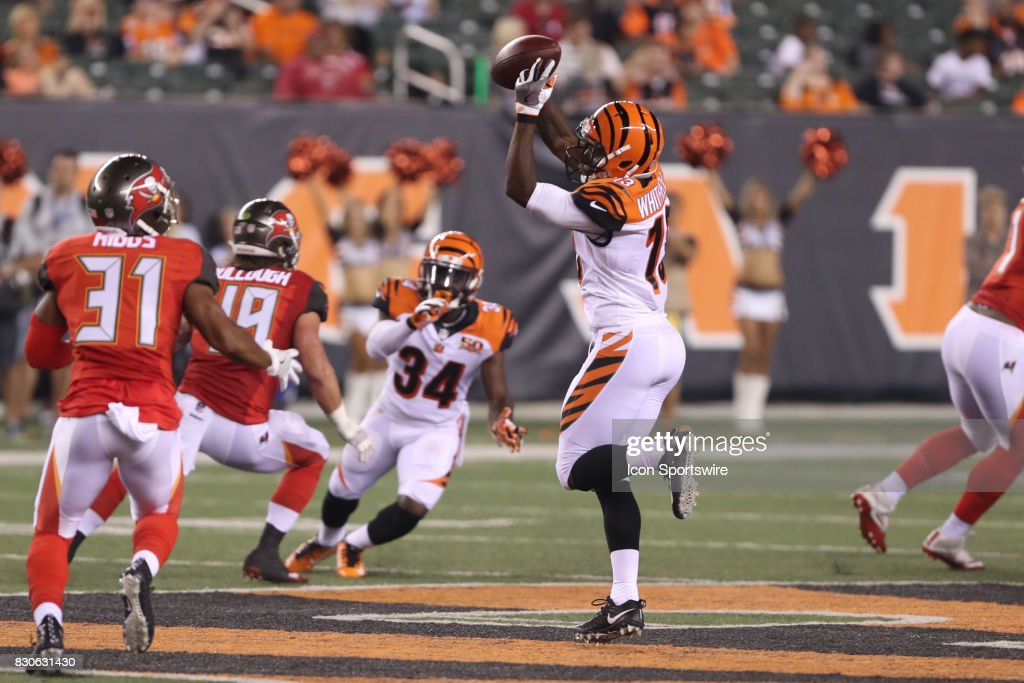 Cincinnati Bengals wide receiver Kermit Whitfield (13) catches a pass during the preseason game against the Tampa Bay Buccaneers and the Cincinnati Bengals at Paul Brown Stadium on August 11th, 2017 in Cincinnati, Ohio. The Bengals defeated the Buccaneers 23-12.