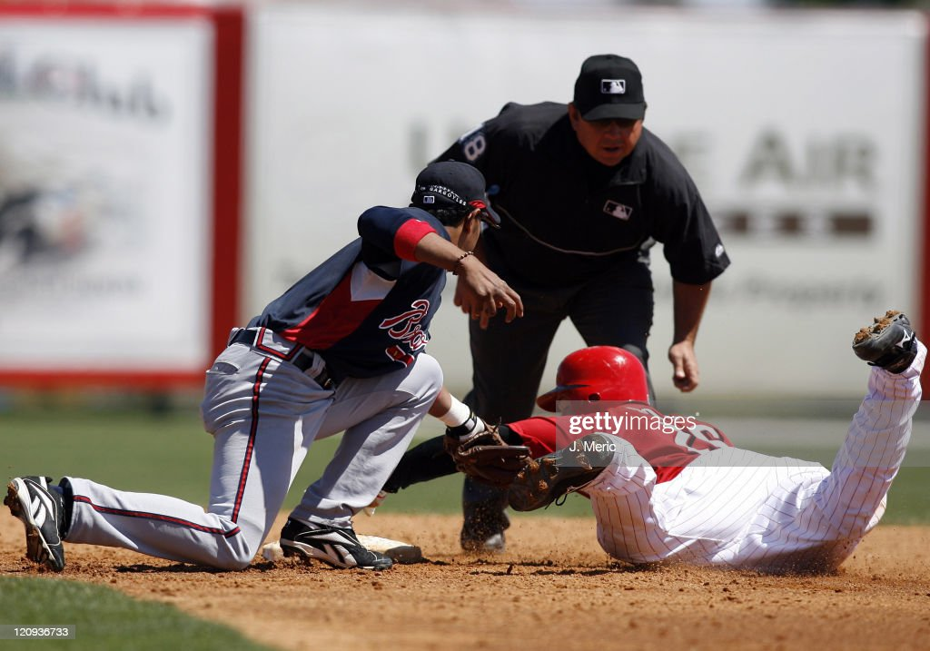 Cincinnati catcher David Ross is tagged out by Atlanta's Tony Pena on this play during Sunday's action at Ed Smith Stadium in Sarasota, Florida on March 18, 2007.