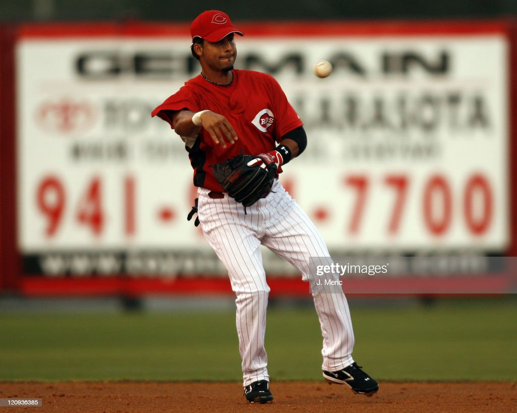 Cincinnati infielder <a gi-track='captionPersonalityLinkClicked' href=/galleries/search?phrase=Juan+Castro&family=editorial&specificpeople=210684 ng-click='$event.stopPropagation()'>Juan Castro</a> makes the throw to second during Thursday night's action against Pittsburgh at Ed Smith Stadium in Sarasota, Florida on March 15, 2007.