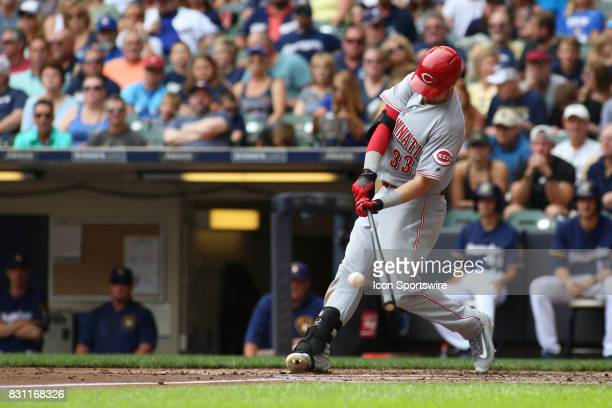 Cincinnati Reds left fielder Jesse Winker hits during a game between the Milwaukee Brewers and the Cincinnati Reds at Miller Park on August 13 2017...