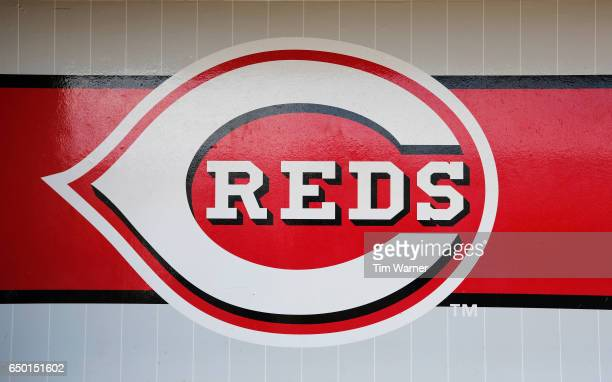 Cincinnati Reds logo is seen in the dugout during the spring training game between the Cincinnati Reds and the Los Angeles Angels at Goodyear...