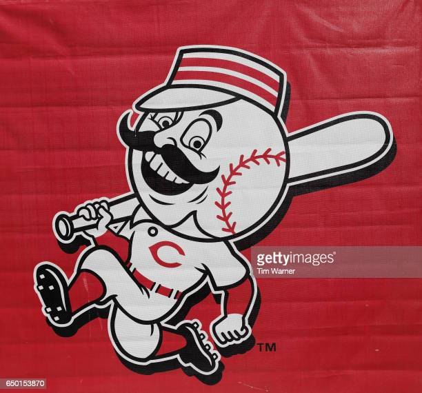 Cincinnati Reds logo is seen in the stadium during the spring training game between the Cincinnati Reds and the Los Angeles Angels at Goodyear...