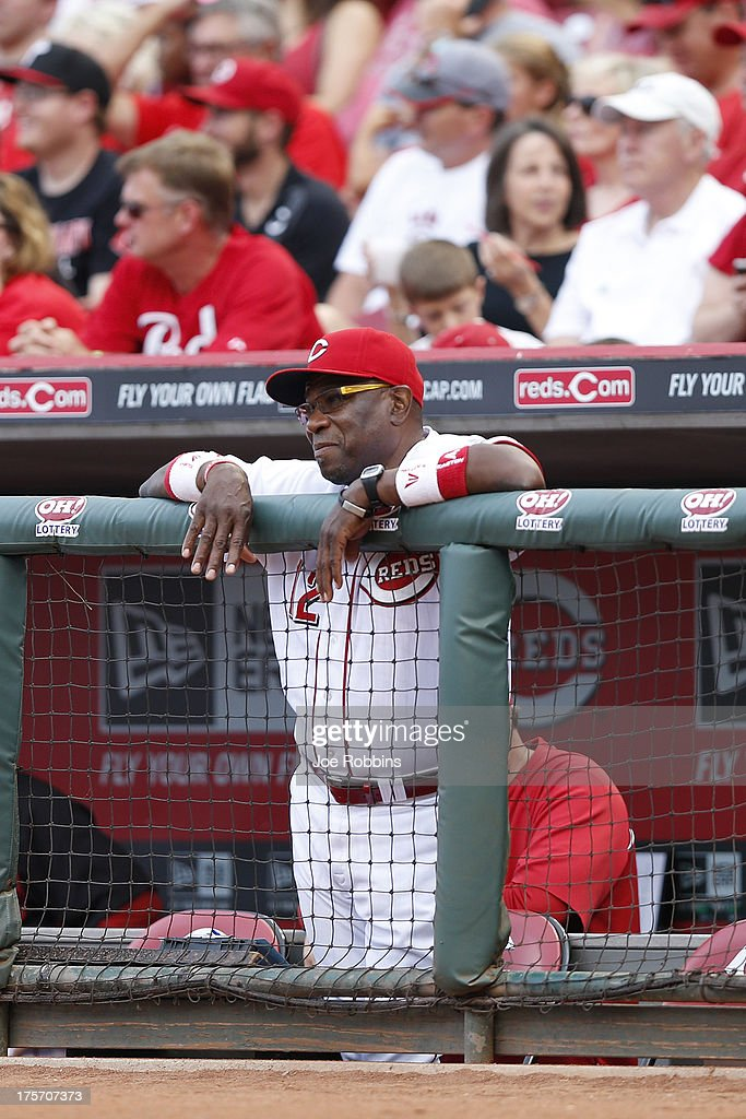 Cincinnati Reds manager <a gi-track='captionPersonalityLinkClicked' href=/galleries/search?phrase=Dusty+Baker&family=editorial&specificpeople=202908 ng-click='$event.stopPropagation()'>Dusty Baker</a> looks on against the Oakland Athletics during the game at Great American Ball Park on August 6, 2013 in Cincinnati, Ohio.