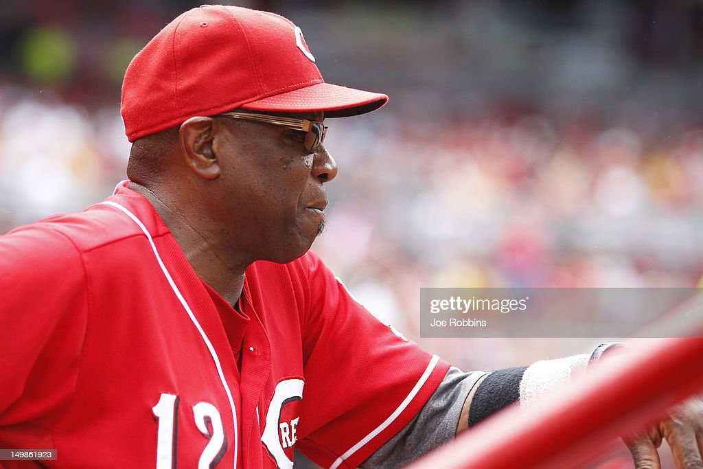Cincinnati Reds manager <a gi-track='captionPersonalityLinkClicked' href=/galleries/search?phrase=Dusty+Baker&family=editorial&specificpeople=202908 ng-click='$event.stopPropagation()'>Dusty Baker</a> looks on during the game against the Pittsburgh Pirates at Great American Ball Park on August 5, 2012 in Cincinnati, Ohio. The Pirates won 6-2.