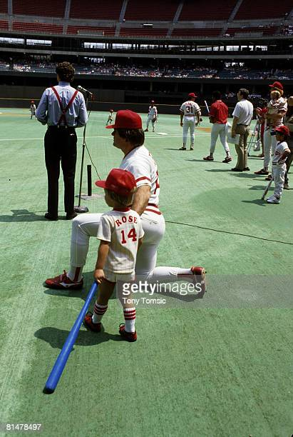 Cincinnati Reds manager/player Pete Rose and his son Pete Jr before a game