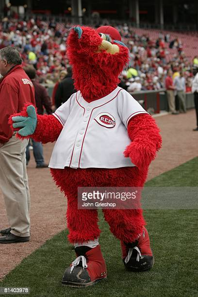 Cincinnati Reds mascot Gapper entertains fans before the game between the Cincinnati Reds and the Milwaukee Brewers at Great American Ball Park in...