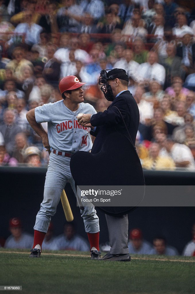 Cincinnati Reds' Pete Rose #14 debates a call with the umpire during the 1970 World Series game against the Baltimore Orioles at Memorial Stadium in Baltimore Maryland.
