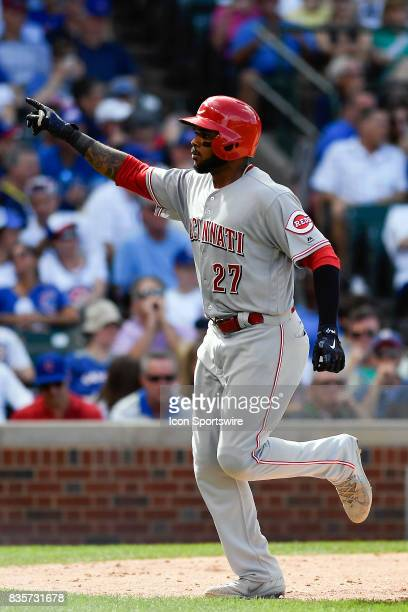 Cincinnati Reds right fielder Phillip Ervin celebrates after hitting a home run during the game between the Cincinnati Reds and the Chicago Cubs on...