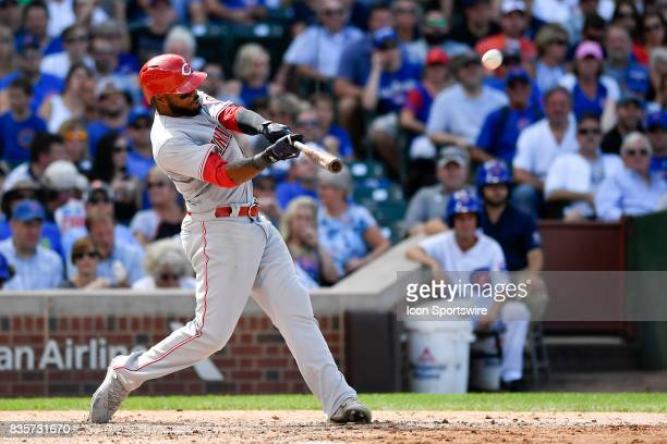 Cincinnati Reds right fielder Phillip Ervin hits a two run home run during the game between the Cincinnati Reds and the Chicago Cubs on August 17...