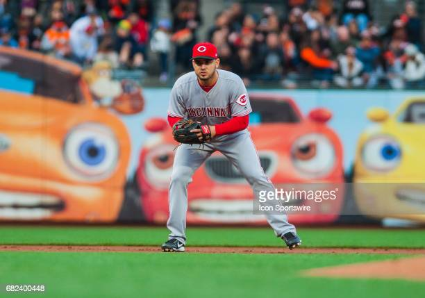 Cincinnati Reds third baseman Eugenio Suarez gets set for a pitch during the regular season major league baseball game between the San Francisco...