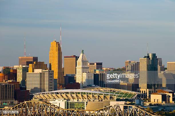Cincinnati skyline at the golden hour