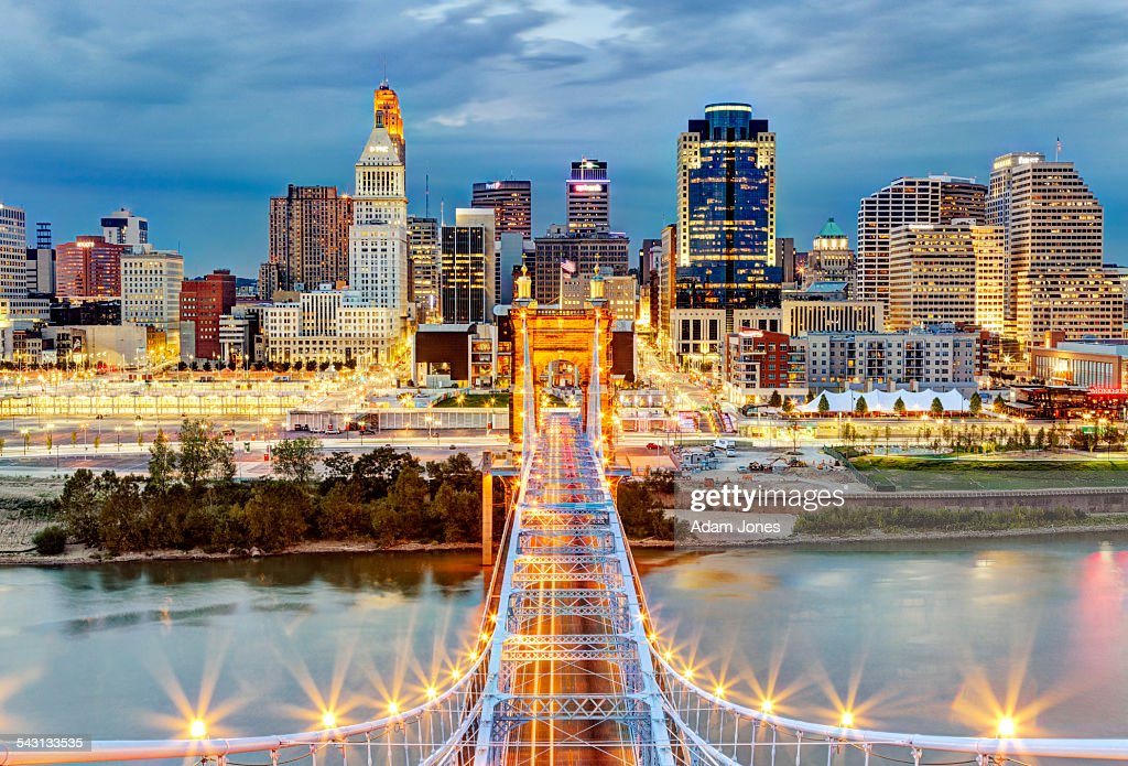 Cincinnati skyline from atop Roebling Bridge