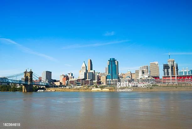 Cincinnati skyline, river, bridge, and ballpark