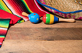 Cinco de Mayo background image on with maracas and sombrero on wooden rustic boards
