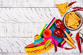 Cinco de Mayo celebration background. 5th May Mexican party or Day of the Dead celebration. Copy space