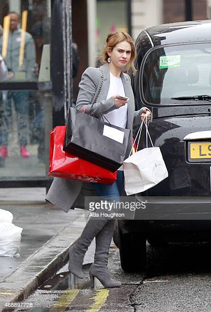 'Cinderella' actress Lily James going make up free as she's spotted on a shopping trip in London on April 3 2015 in London England