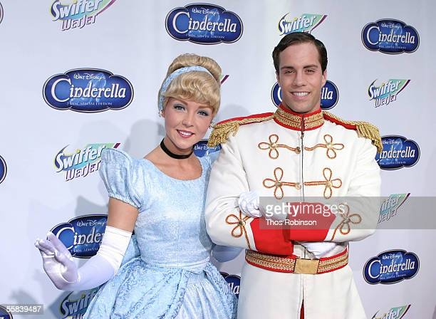 Cinderella and Prince Charming models attend the 'Cinderella' red carpet premiere in honor of the DVD launch at the Ziegfeld on October 2 2005 in New...