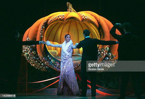 Cinderella danced by Lorna Feijoo arrives at the ball during a dress rehearsal of the Boston Ballet's production at The Wang Center