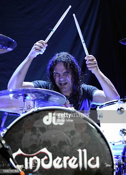 Cinderella drummer Fred Coury performs as the band opens for the Scorpions at the Thomas Mack Center August 3 2010 in Las Vegas Nevada