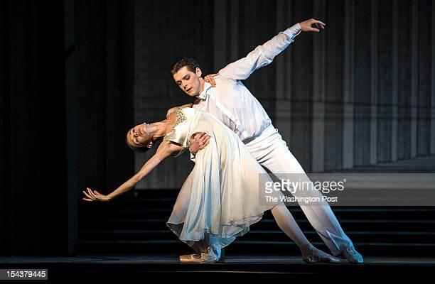 Cinderella Maria Shirinkina and The Prince Vladimir Shklyarov with the Mariinsky Ballet rehearse Act II of Cinderella in the Kennedy Center's Opera...