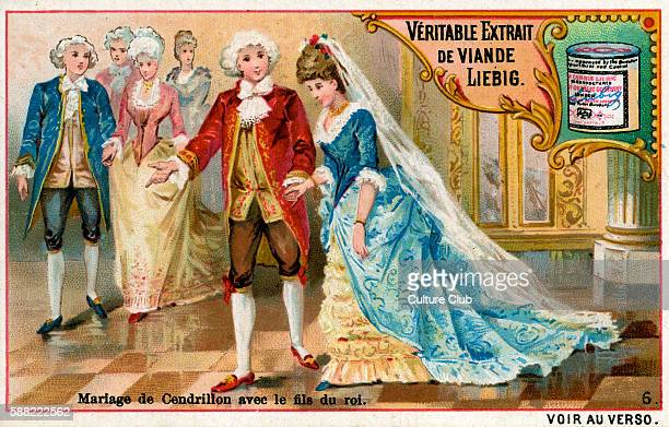 Cinderella marries the Prince Caption reads Mariage de Cendrillon avec le fils du roi Liebig card series