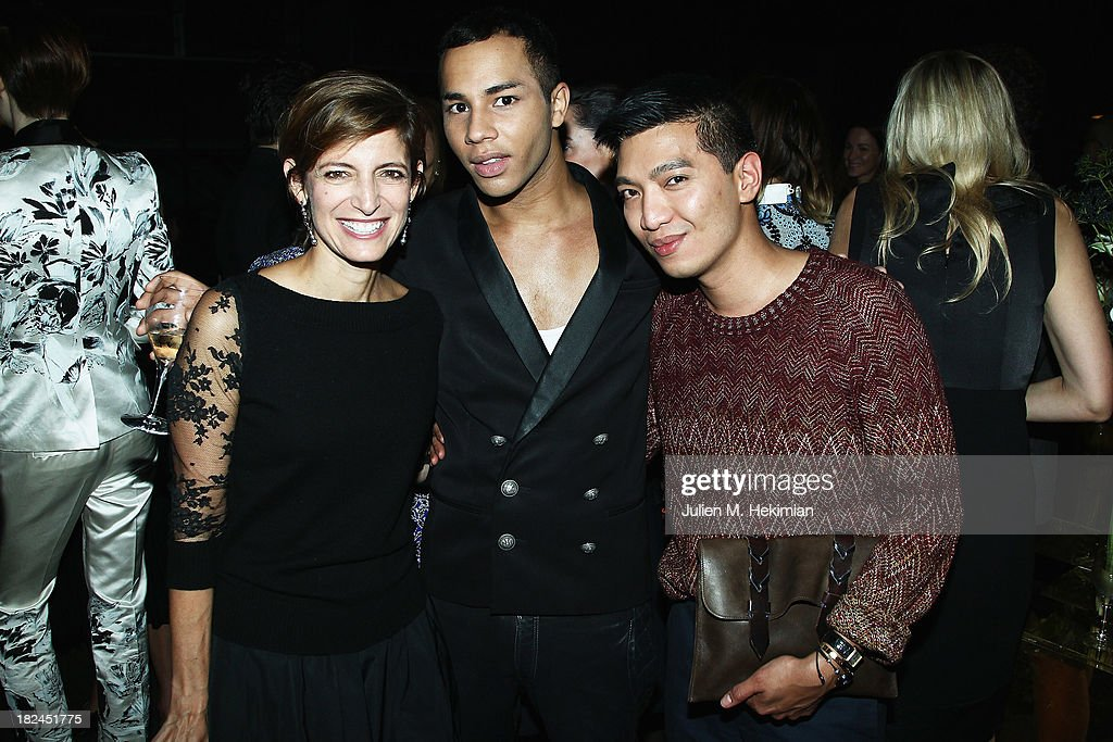 Cindi Leive, Olivier Rousteing and Bryanboy attend the Glamour dinner for Patrick Demarchelier as part of the Paris Fashion Week Womenswear Spring/Summer 2014 at Monsieur Bleu restaurant on September 29, 2013 in Paris, France.