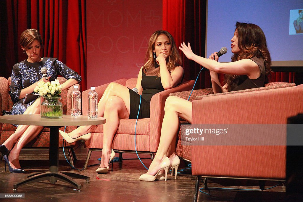 Cindi Leivi, Jennifer Lopez, and Lynda Lopez attend the Mom + Social Event at the 92Y Tribeca on May 8, 2013 in New York City.