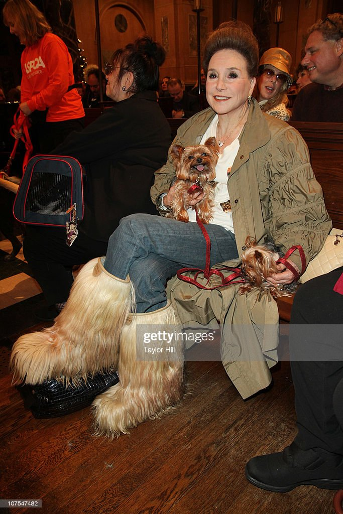 Cindy Adams and her Yorkshire Terriers Jazzy Jr. and Juicy attend the 2010 ASPCA Blessing Of The Animals at Christ Church on December 12, 2010 in New York City.