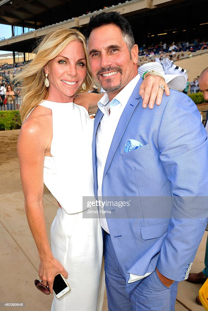 Cindy Ambuehl and Don Diamont attend the Lung Cancer Foundation of America's 6th Annual 'Day at the Races' at the Del Mar Race Track on July 26 2015...