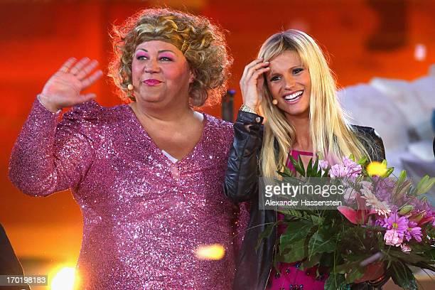 Cindy aus Marzahn attends with Michelle Hunziker the 'Wetten dass' TV show presented by host Markus Lanz at Plaza de Toros de Palma Coliseo Balear on...