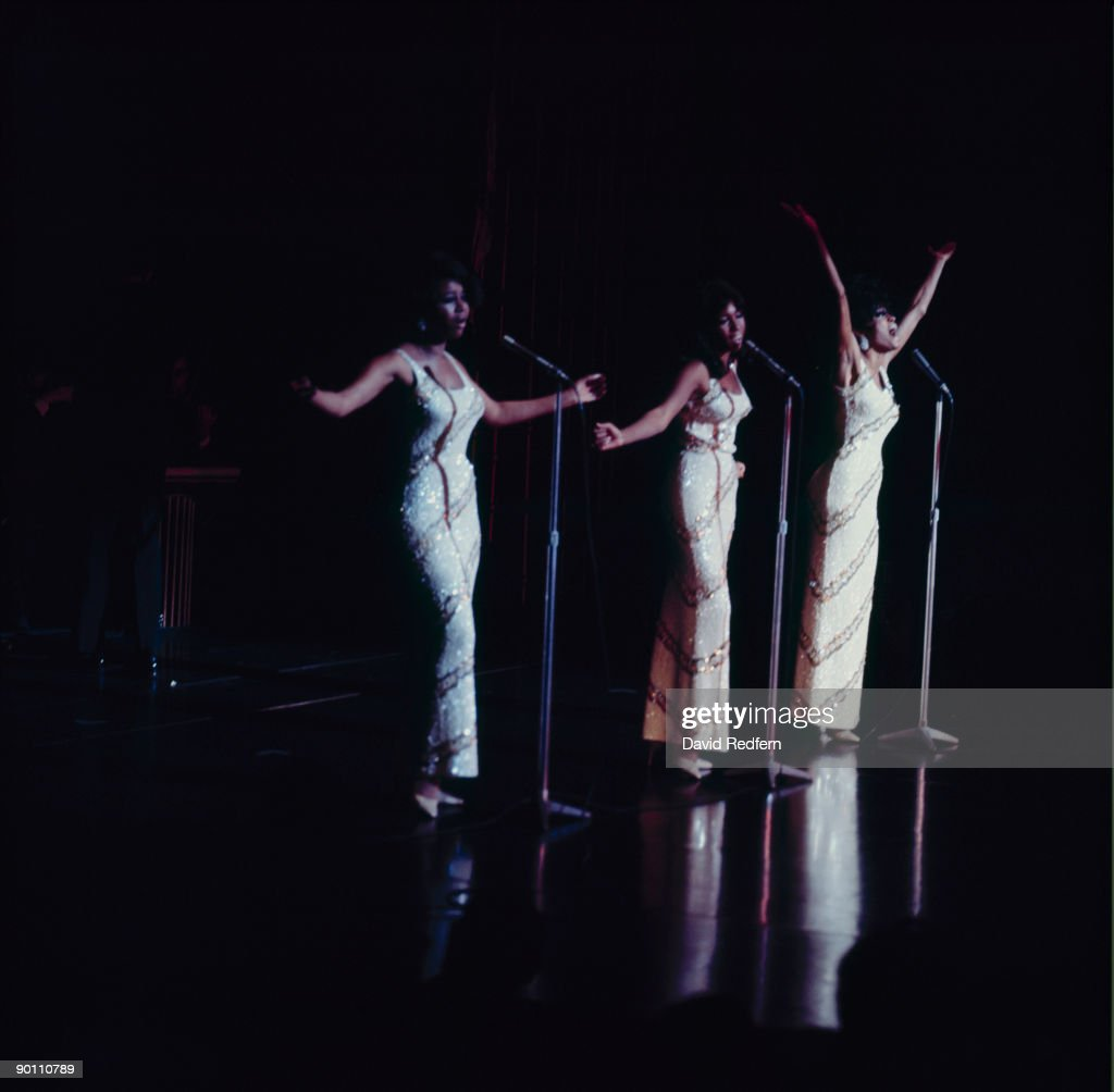 Cindy Birdsong Mary Wilson and Diana Ross of The Supremes perform on stage at the Talk of London in May 1968