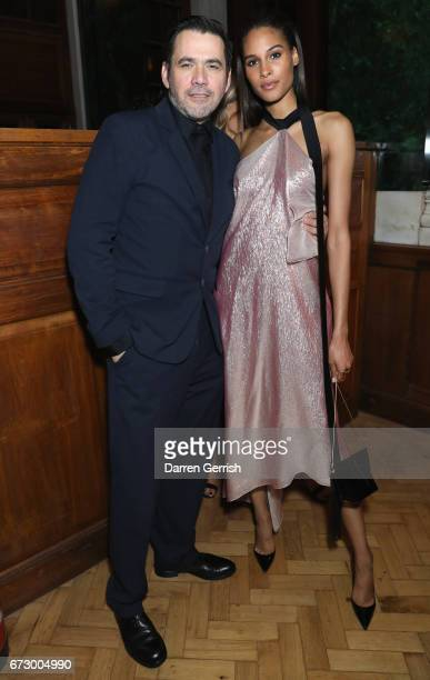 Cindy Bruna and Roland Mouret attend Roland Mouret's The Dinner of Love at Cecconi's a preopening dinner at The Ned on April 25 2017 in London England