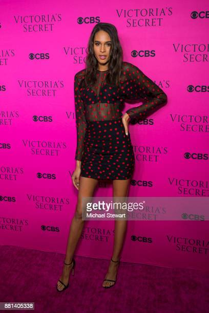 Cindy Bruna attends the 2017 Victoria's Secret Fashion Show viewing party pink carpet at Spring Studios on November 28 2017 in New York City