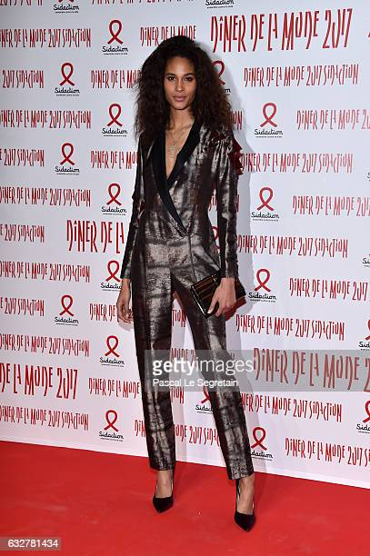 Cindy Bruna attends the Sidaction Gala Dinner 2017 Haute Couture Spring Summer 2017 show as part of Paris Fashion Week on January 26 2017 in Paris...