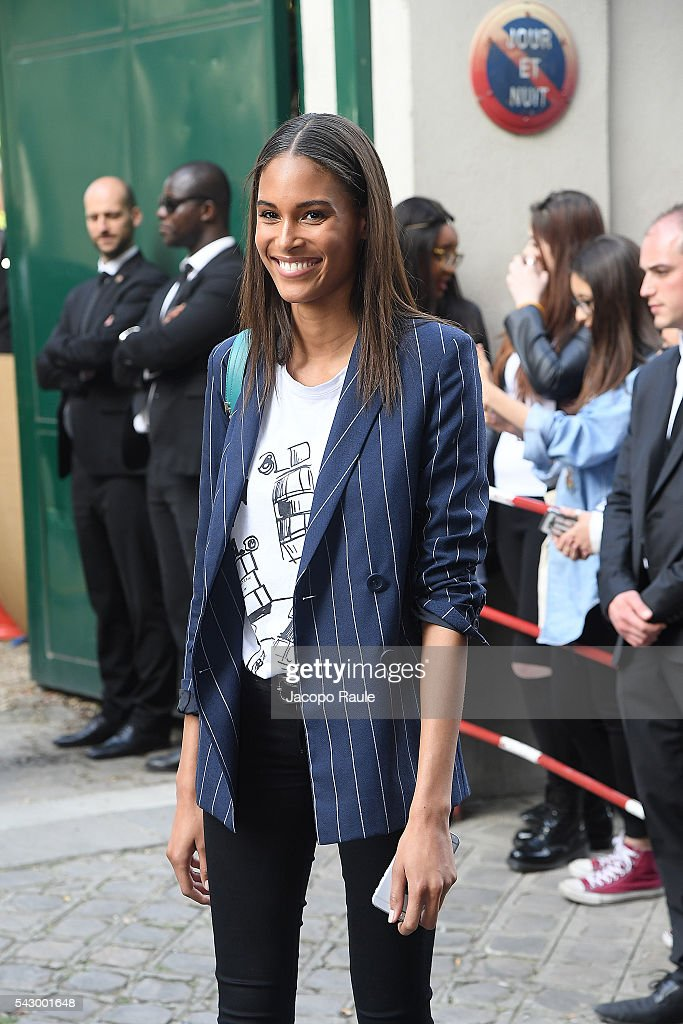 Cindy Bruna is seen leving the Balmain Show during Paris Fashion Week - Menswear Spring/Summer 2017 on June 25, 2016 in Paris, France.