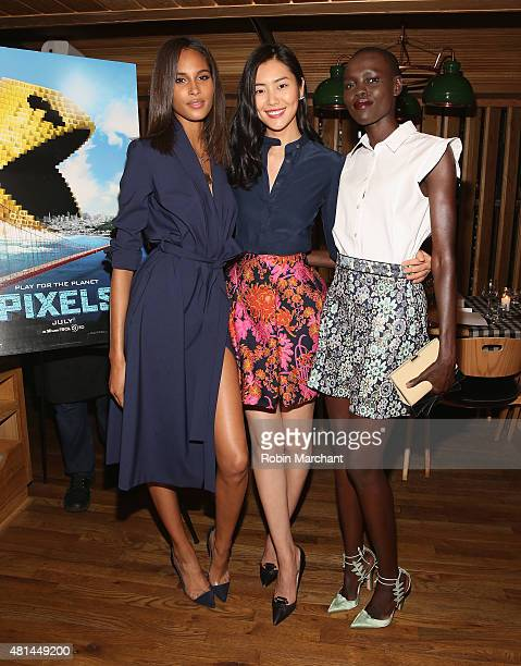 Cindy Bruna Liu Wen and Grace Bol attend a Dinner Honoring The Women Of 'Pixels' at Upland on July 20 2015 in New York City