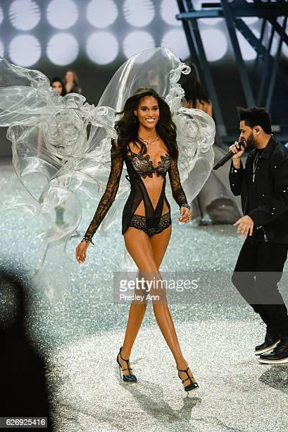 Cindy Bruna walks the runway 2016 Victoria's Secret Fashion Show in Paris Show at Le Grand Palais on November 30 2016 in Paris France