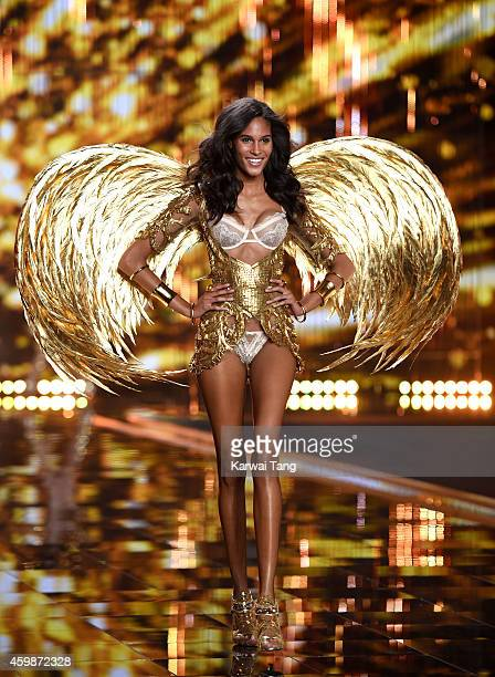Cindy Bruna walks the runway at the annual Victoria's Secret fashion show at Earls Court on December 2 2014 in London England