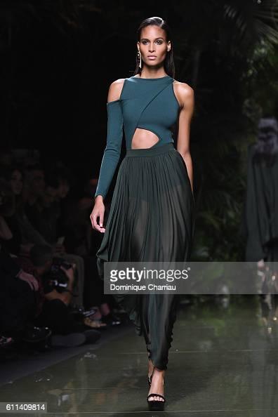 Cindy Bruna walks the runway during the Balmain show as part of the Paris Fashion Week Womenswear Spring/Summer 2017 on September 29 2016 in Paris...