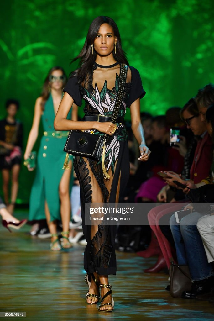 Cindy Bruna walks the runway during the Elie Saab show as part of the Paris Fashion Week Womenswear Spring/Summer 2018 on September 30, 2017 in Paris, France.
