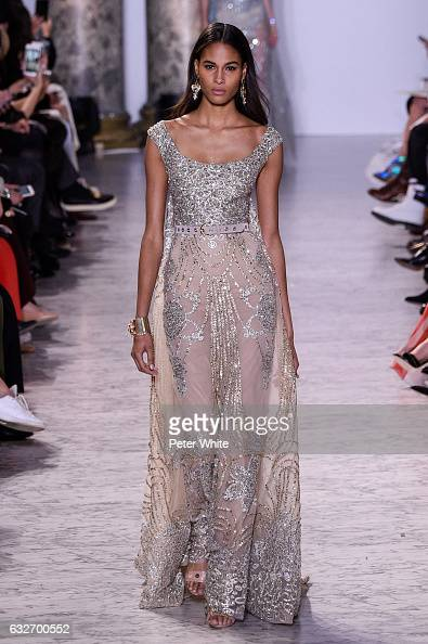 Cindy Bruna walks the runway during the Elie Saab Spring Summer 2017 show as part of Paris Fashion Week on January 25 2017 in Paris France