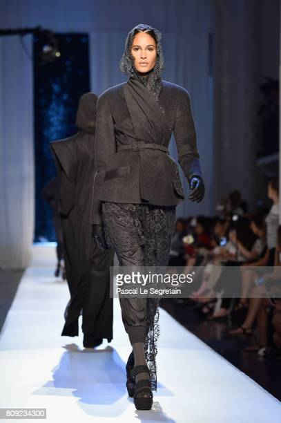Cindy Bruna walks the runway during the Jean Paul Gaultier Haute Couture Fall/Winter 20172018 show as part of Haute Couture Paris Fashion Week on...